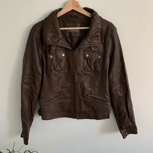Tattoo - Faux Leather Jacket - Brown